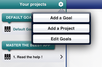 Use the best ipad apps for business - Project management iPad - add a goal