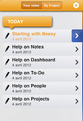 Fast note taking on Ipad with Beesy- left note panel screenshot
