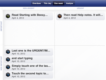 use your iPad Calendar app for note taking - task matrix