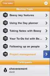 How to take notes with iPad - Fast note taking on iPad using Beesy - topic note panel screenshot