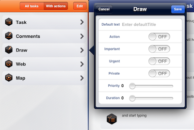 Best task manager for iPad and iPad To-Do list management app - configure type of task