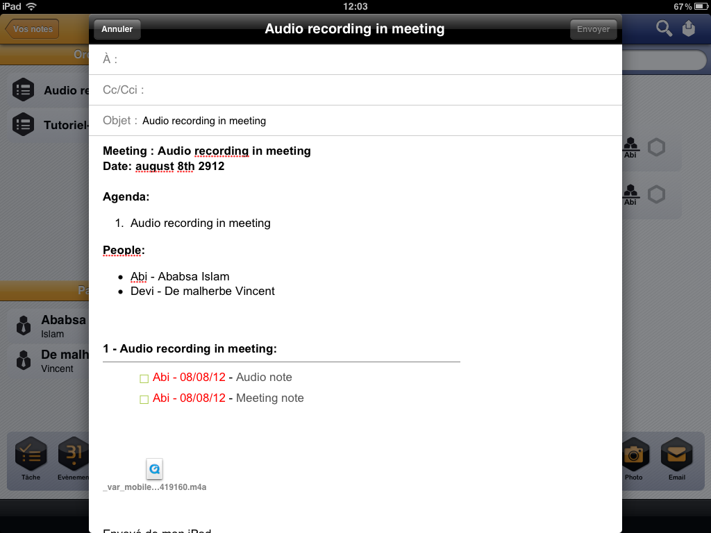 Audio recording in meeting with Beesy HD - meeting minutes