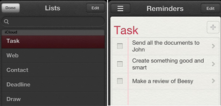 iOS Reminders sync with Beesy 1.50