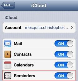 Rappels : synchroniser avec iCloud sur iPad