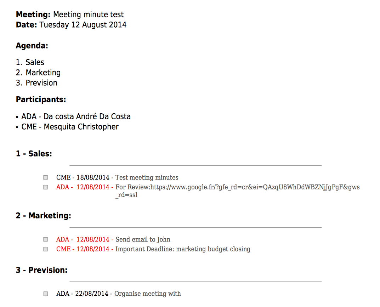 Sample resume business meeting format