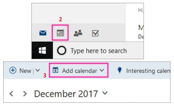 Calendrier Outlook