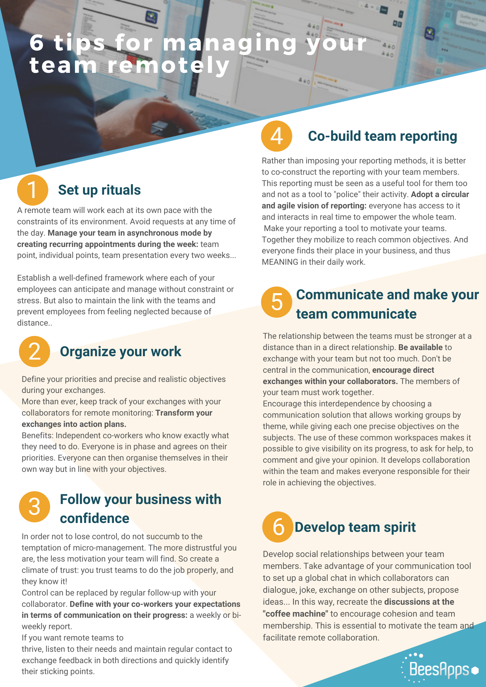 Remote work - The 6 tips to manage your business and your team remotely