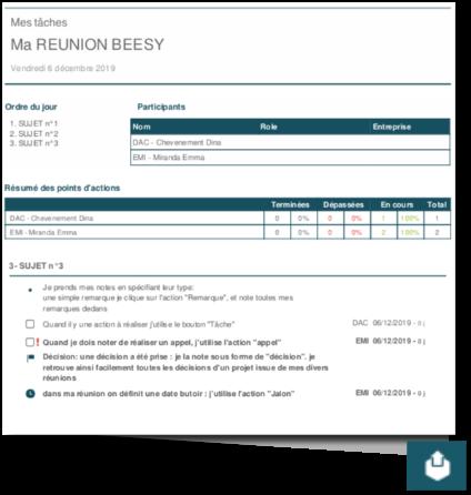 des comptes rendus de réunion Beesy